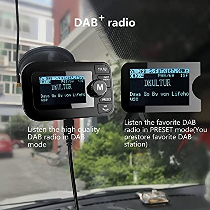 FirstE-Car-DABDAB-Radio-Adapter-Portable-Crystal-Digital-Sound-FM-Transmitter-24-TFT-Color-Display-Bluetooth-Receiver-Handsfree-CallTF-Card-PlayDual-USB-Car-Charger3M-Antenna