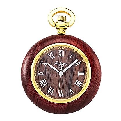 TREEWETO-Holz-Taschenuhr-Retro-Taschenuhren-Herren-Quarzuhr-Rmische-Ziffern-mit-Kette-und-Geschenkbox