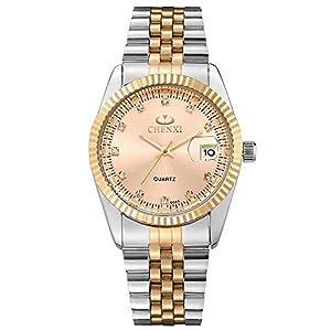 XLORDX-Herren-Armbanduhr-Business-Casual-Analog-Quarz-Datum-Gold-Uhr-mit-Edelstahl-Armband-Schwarz-Zifferblatt