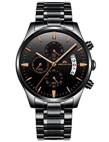 Herren-Uhren-Edelstahl-Schwarz-Mnner-Chronograph-Wasserdicht-Datum-Kalender-Luxus-Design-Gro-Armbanduhr-Sport-Geschfts-Beilufig-Mode-Kleid-Stoppuhr-Analog-Quarz-Uhr
