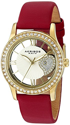 Akribos-XXIV-Damen-Glimmer-Analog-Display-Japanisches-Quarz-Uhr-mit-Lederband