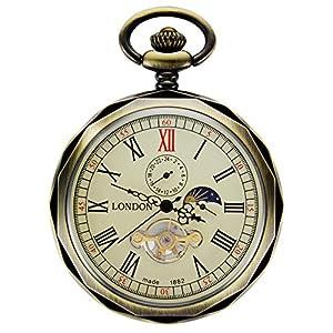 TREEWETO-Taschenuhr-mit-Kette-Herren-Analog-Handaufzug-24-Stunden-Sonne-Mond-Anzeige-Bronze