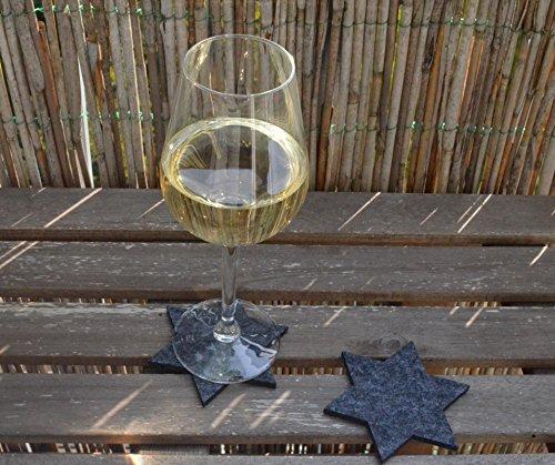 FILU Filzuntersetzer Sterne 8 Stück (Farbe wählbar) Untersetzer je 10 cm x 10 cm dunkelgrau – Untersetzer aus Filz für Tisch und Bar als Glasuntersetzer / Getränkeuntersetzer für Glas und Gläser Dekoration