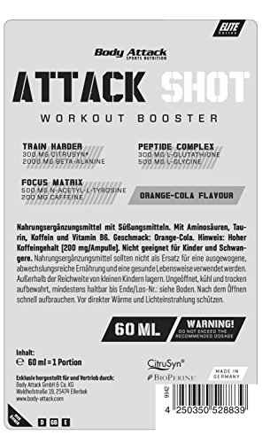 "Body Attack ""Attack Shot"" Booster- Grapefruit, 20 x 60 ml"