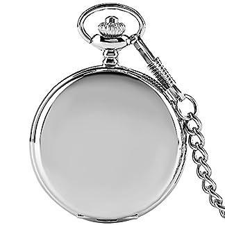 Einfache-Taschenuhr-Silber-Smooth-Quarz-Taschenuhr-Dicke-Kette-Geschenk-fr-Mnner-Frauen