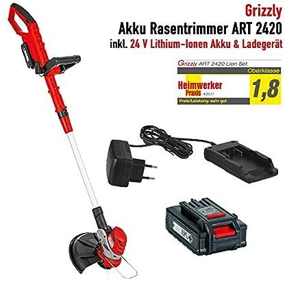 Grizzly-Akku-Rasentrimmer-ART-2420-25-cm-Schnittkreis-Faden-16-mm-Vollautomatik-Inkl-24-V-Akku-20-Ah-Ladegert-Edge-Funktion-Teleskop-Alurohr-Pflanzenschutzbgel