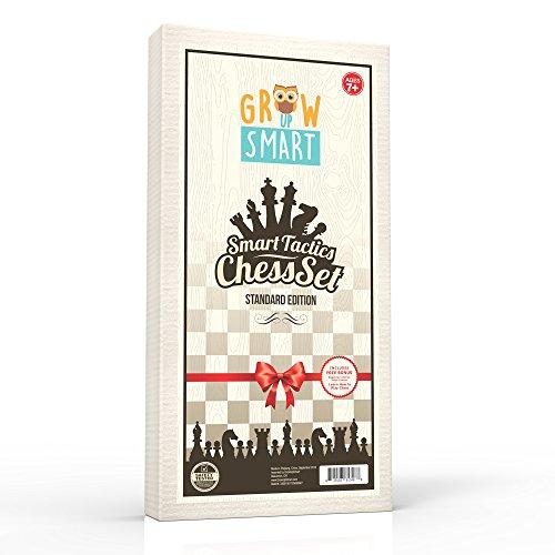 GrowUpSmart-HOLZ-SCHACHSPIEL-SET-Standard-Edition–40-x-40-cm-Groe-Klappbare-Schachbrett-Kassette-aus-FSC-zertifiziertem-PinienLindenNussbaumholz