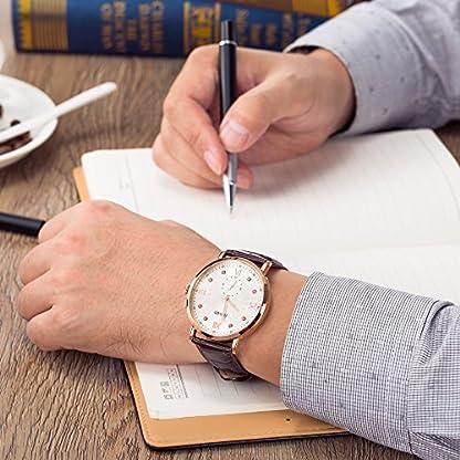 Time100-NEU-Moderne-Herrenarmbanduhr-Chronograph-Quarzuhr-Wasserdicht-Leder-rund-Rosegold-W80097G