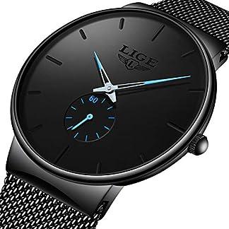 LIGE-Herren-Uhren-Wasserdicht-Schwarz-Edelstahl-Armbanduhren-Analog-Uhr