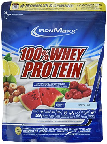 IronMaxx 100% Whey Protein / Whey Haselnuss Eiweißshake / Wasserlösliches Proteinpulver mit Haselnuss Geschmack / 1 x 500 g Beutel