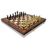 Groen-SENATOR-41cm-x-41cm-16-aus-Holz-Schachspiel-Ornamente-auf-Schach-verbrannt-Board-und-Schachfiguren