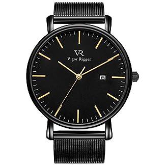 Vigor-Rigger-Herren-Quarzuhr-ultradnne-Schwarz-Armbanduhr-fr-Herren-Classic-Minimalistisches-Design-mit-Datum-Kalender-und-Milanaise-Mesh-Band