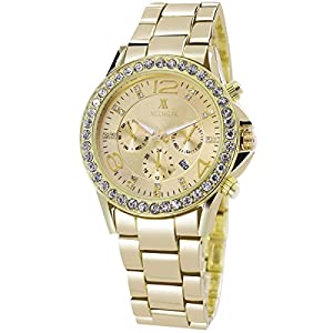 XLORDX-Classic-Unisex-Herren-Damen-Armbanduhr-Analog-Quarz-Schwarz-Edelstahl-Armband-Rosegold-Zifferblatt