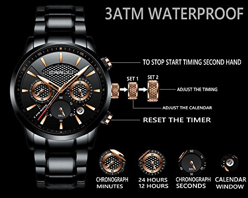 Uhren-Herren-Edelstahl-Band-Quarz-Analog-Armbanduhr-mit-Chronograph-Wasserdicht-Datum-Herren-Armbanduhr-mit-schwarzem-Zifferblatt