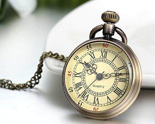 JewelryWe-Herren-Damen-Taschenuhr-Vintage-Einfach-Uhr-Anhnger-Analog-Quarz-Kettenuhr-Pullover-Halskette-Kette-mit-Gold-Rmischen-Ziffern-Zifferblatt