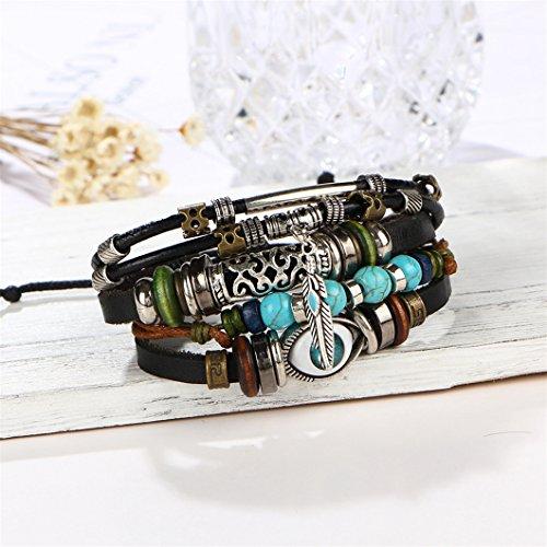 Gluckliy Punk Augen Perlen Armbänder für Männer Frauen Wristband Synthetischen Leder Armband Vintage Schmuck