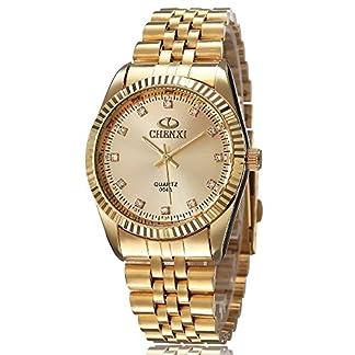 XLORDX-Herren-Armbanduhr-Business-Casual-Analog-Quarz-Gold-Uhr-mit-Edelstahl-Armband-Gold-Zifferblatt
