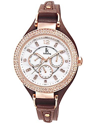 Alienwork-Armbanduhr-Damen-Uhr-Leder-Armband-Lederband-braun-Analog-Quarz-Damenuhr-Mdchen-Kalender-Datum-rose-gold-weiss-Wasserdicht-Multi-funktion-Perlmutt-Strass