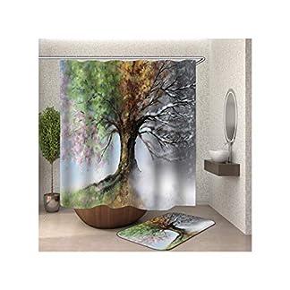 AieniD-Duschvorhang-Uni-Baum-Bunt-Badevorhang