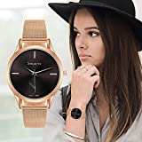 Souarts-Damen-Armbanduhr-Einfach-Mesh-Metallarmband-Casual-Analoge-Quarz-Uhr-rosa-Gold
