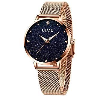 CIVO-Damen-Uhr-Damenuhr-Rosgold-Sternenhimmel-Ultra-Dnn-Einfach-Wasserdicht-Armbanduhr-Lssige-Mode-Quarz-Analoge-Edelstahl-Mesh-Uhren-fr-Frauen-Damen-Mdchen