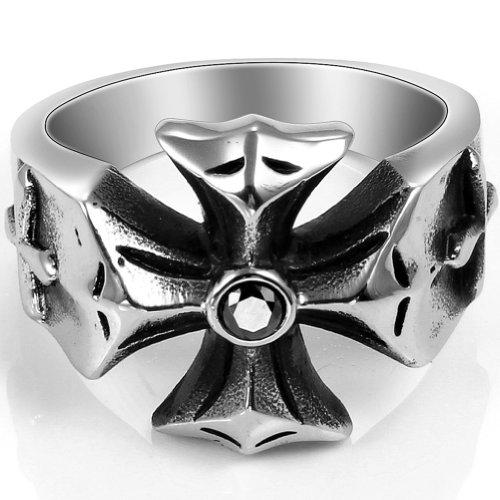 JewelryWe Schmuck Biker Edelstahl Ring Eisernes Kreuz Gotik für Damen & Herren Farbe Schwarz Silber Größe 54 bis 72
