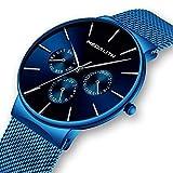 Herren-Uhr-Mnner-Wasserdicht-Luxus-Sport-Edelstahl-Mesh-Blau-Dnne-Armbanduhren-Klassische-Elegant-Datum-Kalender-Analog-Quarz-Kleid-Herrenuhr