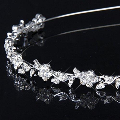 WINOMO Kristall Braut Blume Verlässt Krone Stirnband Tiara Kopfschmuck