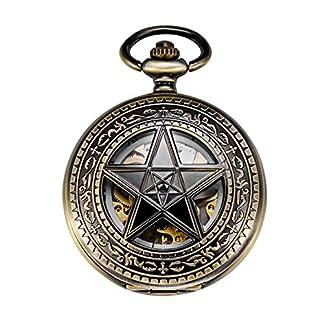 TREEWETO-Retro-Bronze-Mechanische-Taschenuhr-Pentagramm-Design-Skelett-Rmische-Ziffern-Herren-Taschenuhren-mit-kette-und-Geschenkbox