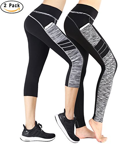 Munvot® Tailored Geschenke Damen Doppeltaschen Sport Leggings – TUMMY CONTROL – Sporthosen Super für Fitness, Joggen, Yoga, running etc.