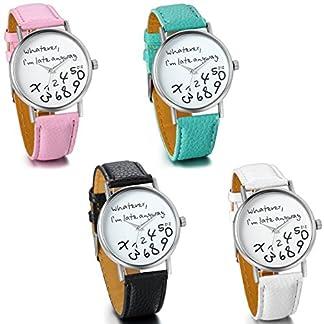 JewelryWe-Damen-Mdchen-Armbanduhr-whatever-im-late-anyway-Liebhaber-Geschenk-Analog-Quarz-Leder-Armband-Uhr-mit-Weiem-Zifferblatt-4-Farben