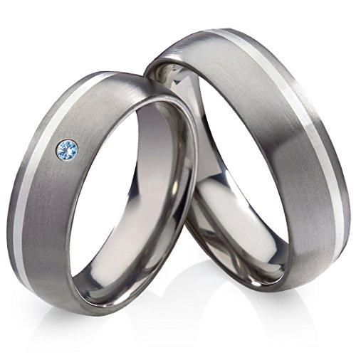 Titanringe Verlobungsringe Eheringe Trauringe Hochzeitsringe aus Titan mit 925 Silber und Blautopas Gravur HT13