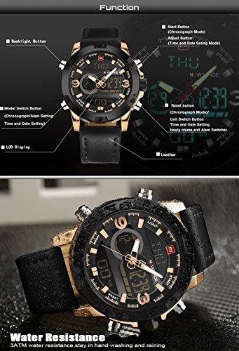 Fashion-Sport-Analog-Digital-Herren-Uhren-Leder-duale-Zeitanzeige-Schwarz-Gold-wasserdicht-Datum-Alarm-Chronograph-Armbanduhr