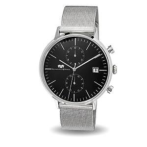 Rhodenwald-Shne-Hyperion-Herrenuhr-Chronograph-Edelstahl-Milanaise-Armband-Black-Black-5-ATM-Uhr-mit-Totalisator-und-Armband-in-Edelstahl-Quarzuhr-Echtleder-Armband-Armbanduhr-analog