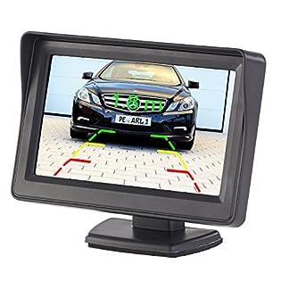 Lescars-Rckfahrkamera-Monitor-Kfz-Monitor-fr-Rckfahr-Front-Kamera-LCD-Display-mit-109-cm43-Frontkamera-Auto-Nachrsten
