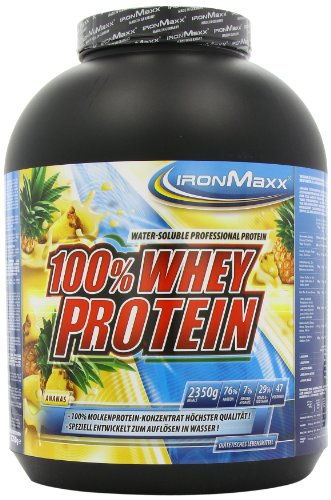 IronMaxx 100% Whey Proteinpulver Ananas / Whey Eiweißpulver für Fitness Shake / Protein auf Wasserbasis mit Ananas Geschmack / 1 x 2,35 kg Dose