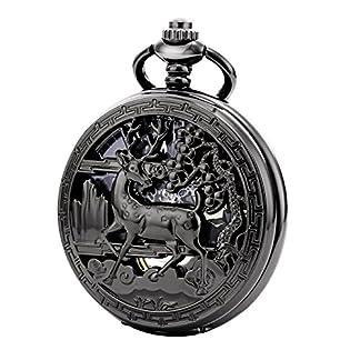 TREEWETO-taschenuhr-mit-kette-herren-schwarz-rmische-ziffern-retro-uhr-hirsch-rentier-taschenuhren-mechanisch-pocket-watch