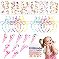 Einhorn-Party-Favors-Supplies-Frcolor-Einhorn-Stirnbnder-Temporre-Tattoos-fr-Kinder-Mdchen-Einhorn-Haargummis-Haarnadeln-fr-Cosplay-Party-Birthday-Party-Halloween-Weihnachten63-Stck