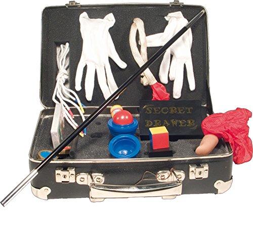 Zauberkoffer-Mit-9-gngigen-Zaubertricks-Aus-schwarzer-Pappe-mit-Echtholzrahmen-und-Metallverstrkungen-30-20-11-cm
