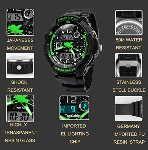 TOPCABIN-Jungen-Uhren-Mdchen-Uhren-Kinder-Armbanduhr-Jungen-Digital-Analog-Wasserdicht-Sports-Uhren-fr-Jungen-und-Mdchen-Digital-Uhr-Sports-Uhren-Grn