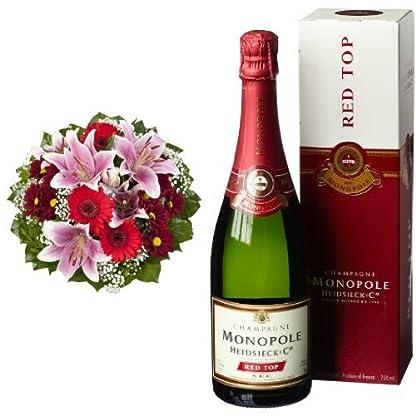 Blumenstrau-Charlotte-mit-rosa-Lilien-Heidsieck-Co-Monopole-Red-Top-Sec-Champagner-mit-Geschenkverpackung-1-x-075-l