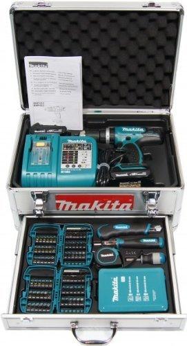 Makita-Akku-Schlagbohrschrauber-BHP453RHEX5-im-Alukoffer-inkl-96-tlg-Zubehrset-2-Akkus-und-Ladegert