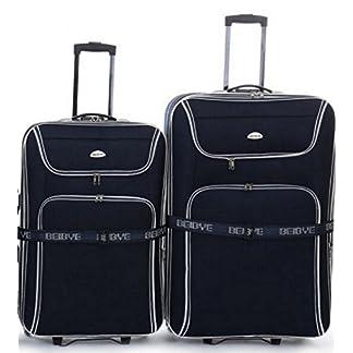 2-Trolleys-Koffer-86cm-76cm-XXL-Volumen-Dehnfalte-Koffergurt–Schwarz