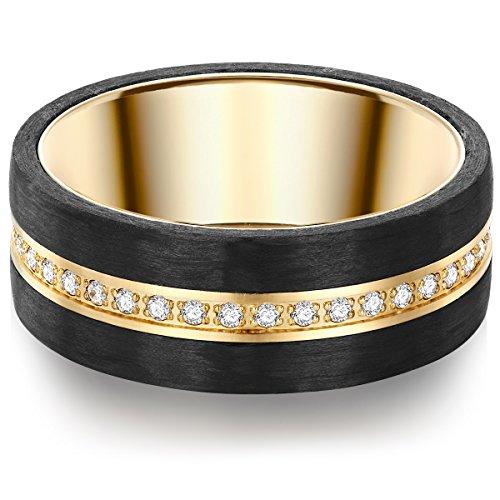 Tresor 1934 Damen-Ring Edelstahl gelbvergoldet Zirkonia weiß Brillantschliff – Edelstahlring vergoldet Carbon Verlobunsgring mit Carbon Ring mit Brillantschliff