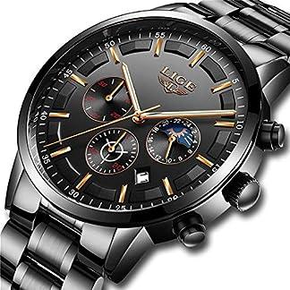 LIGE-Herren-Uhren-Mnner-Militr-Wasserdicht-Lssige-Sport-Chronograph-Schwarz-Edelstahl-Armbanduhr-Business-Datum-Kalender-Mode-Analog-Quarzuhr