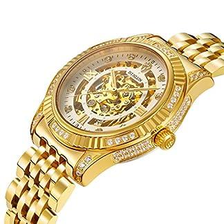 Binlun-Herren-Uhren-18-K-Gold-Edelstahl-Luxus-Skelett-Armbanduhr