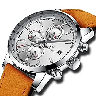 Herren-Uhren-Chronograph-Mnner-Wasserdicht-Luxus-Kleid-Datum-Kalender-Analog-Quarz-Lederband-Uhr-Herren-Sport-Geschfts-Beilufig-Mode-Armbanduhr-mit-Silber-Zifferblatt-Braun-Echtes-Uhrenarmband
