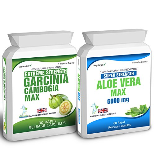 Body Smart Herbals – 90 Garcinia Cambogia & 60 Aloe Vera Colon Cleanse Weight Loss Diet Capsules