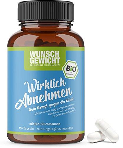 Wirklich Abnehmen Kapseln, Bio – (150 Kapseln) – Abnehm-Kapseln mit Wirkstoff: Bio-Glucomannan. Ohne bekannte Nebenwirkungen. Zertifiziert DE-ÖKO-005. Hergestellt in Deutschland