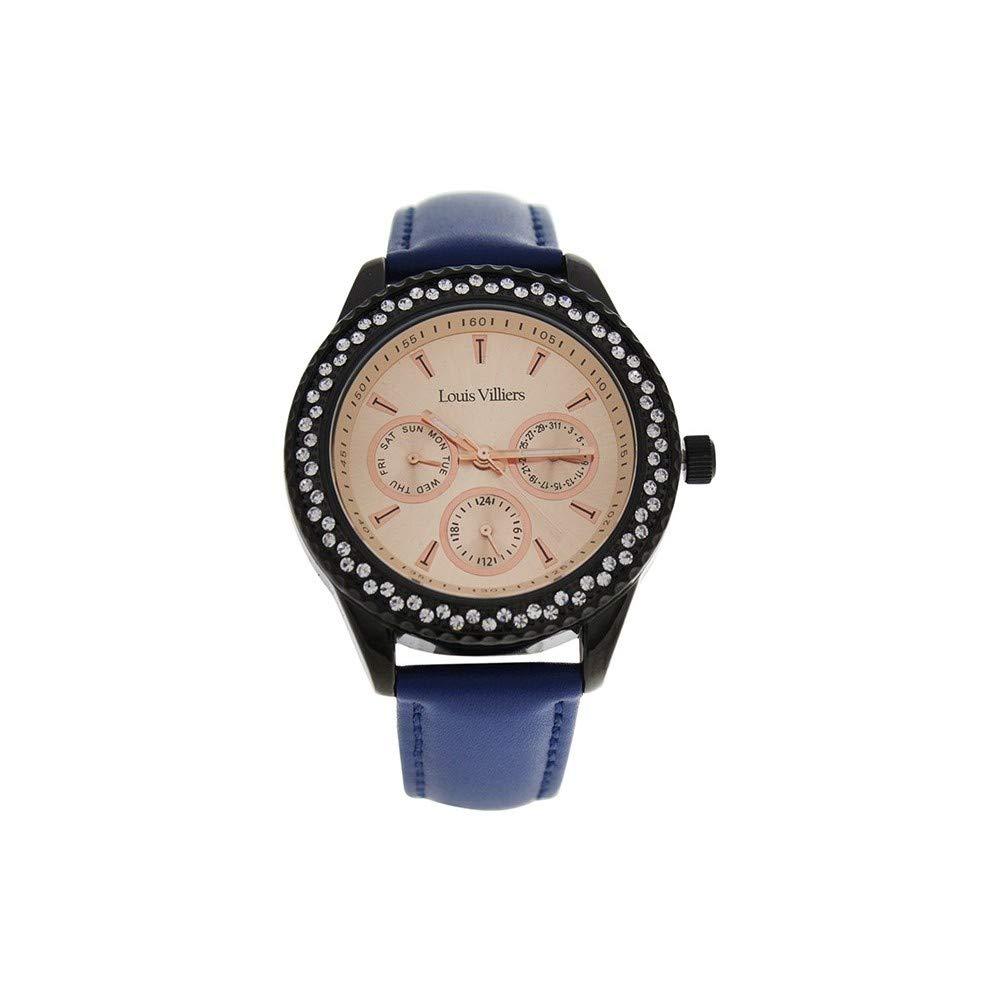 Louis-Villiers-Unisex-Analog-Quarz-Uhr-mit-Leder-Armband-LV2081